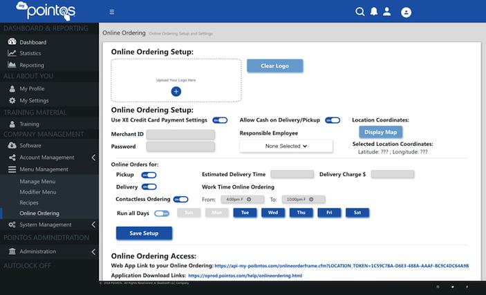 MyPointOS Portal Online Ordering Setup Dashboard